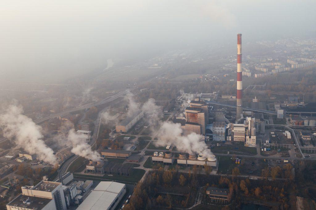 Smoke leaving the factory chimneys