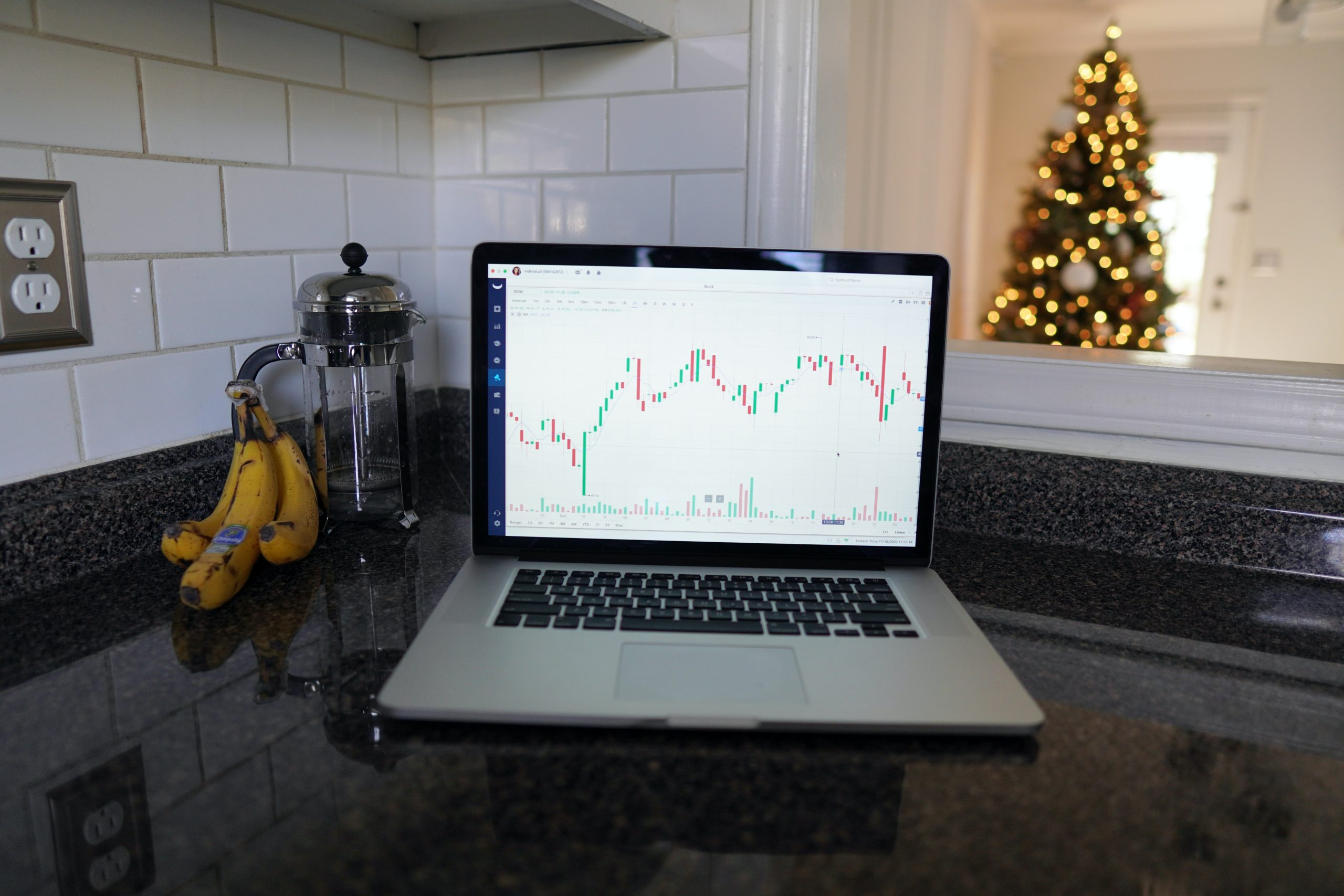 Laptop screen showing stock investing data